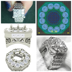 14kt White Gold Octagon Halo Ring