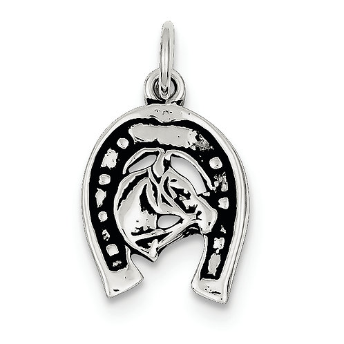 Sterling Silver Antiqued Horse Shoe/Horse Charm