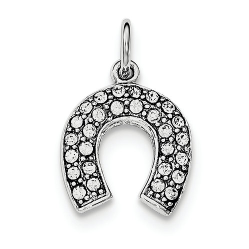 Sterling Silver Rhodium-Plated Horseshoe With Crystal Pendant