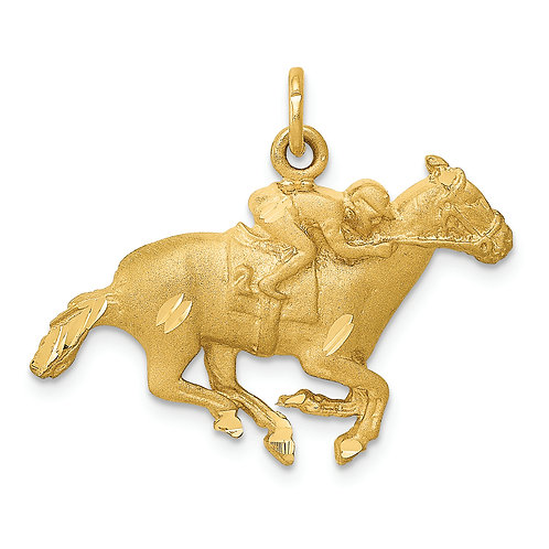 14k Sand Blast And D/C Horse With Jockey Charm