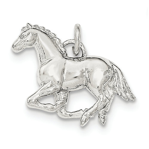 Sterling Silver Polished And Textured Horse Pendant