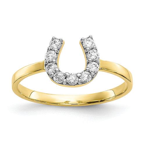 10k CZ Horse Shoe Ring