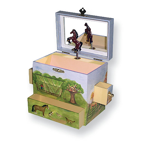 Childrens Horse Ranch Musical Jewelry Box