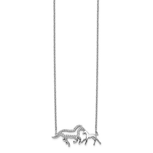 14k White Gold Diamond Mother And Baby Horse Necklace