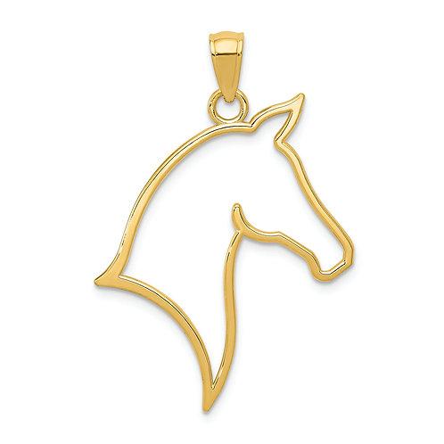 14k Polished Cut Out Horse Head Pendant