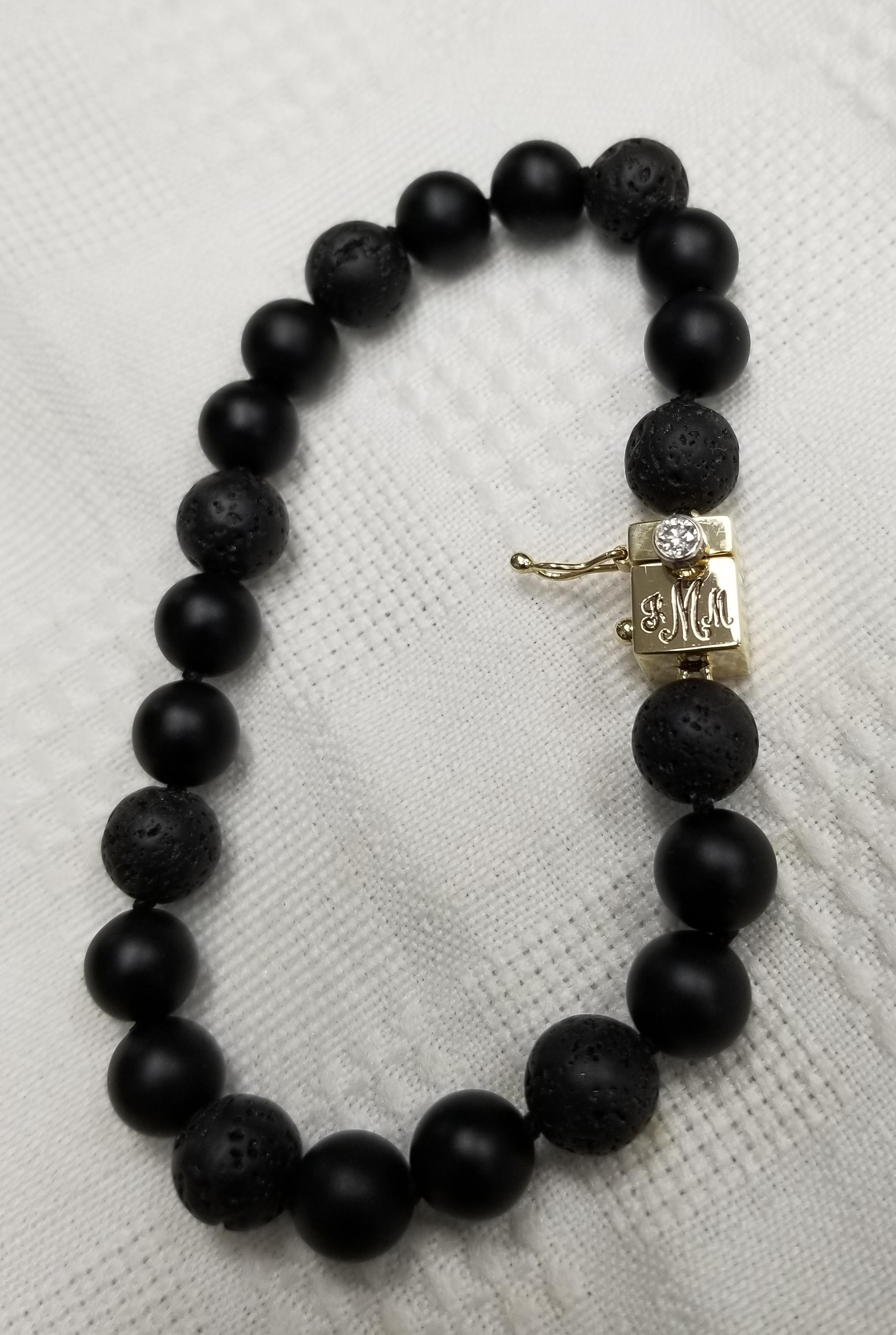 Custom Onyx & Lava Bead Bracelet