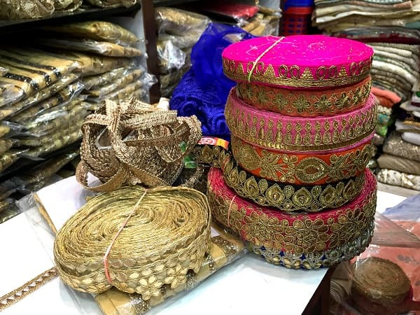 Rolls of colourful ethnic lace in Kolkata, India