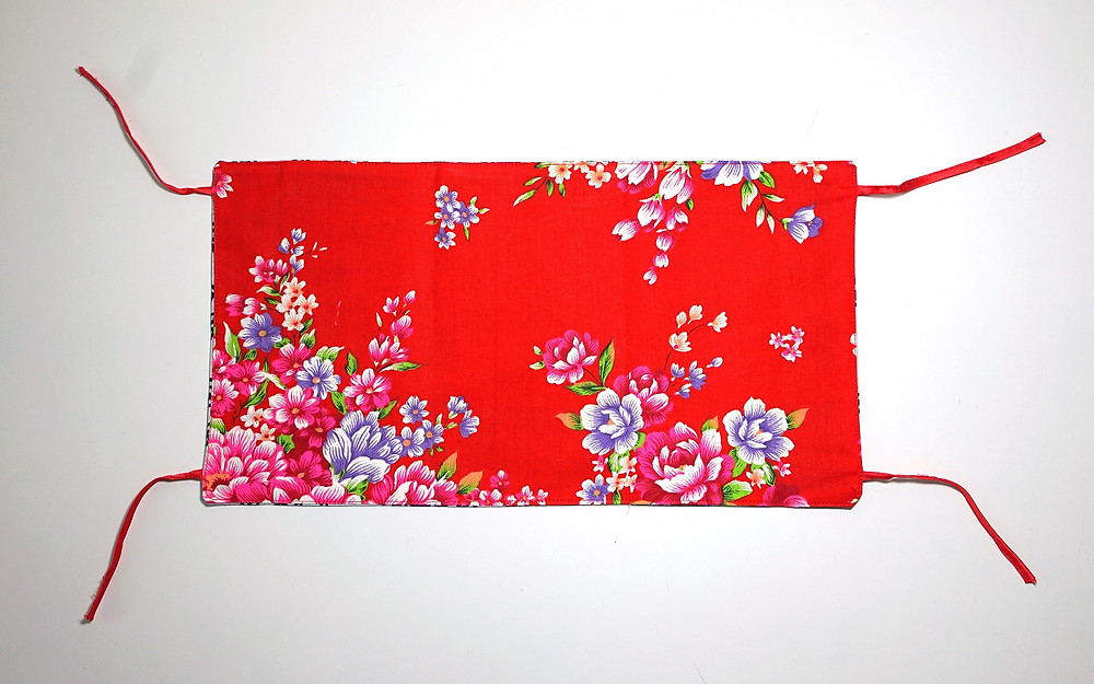 chinese new year red floral tissue box cover