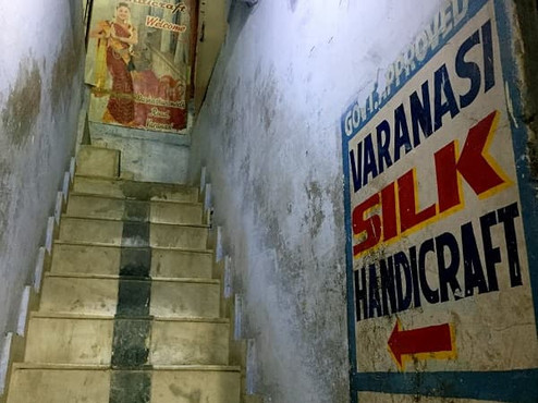 Staircase to Varanasi Silk Handicraft textile shop in India.