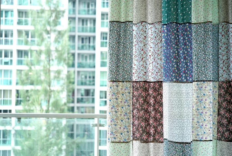 patchwork curtains close up