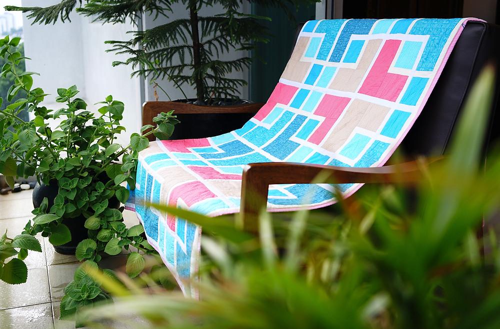 colourful oriental lattice quilt drape