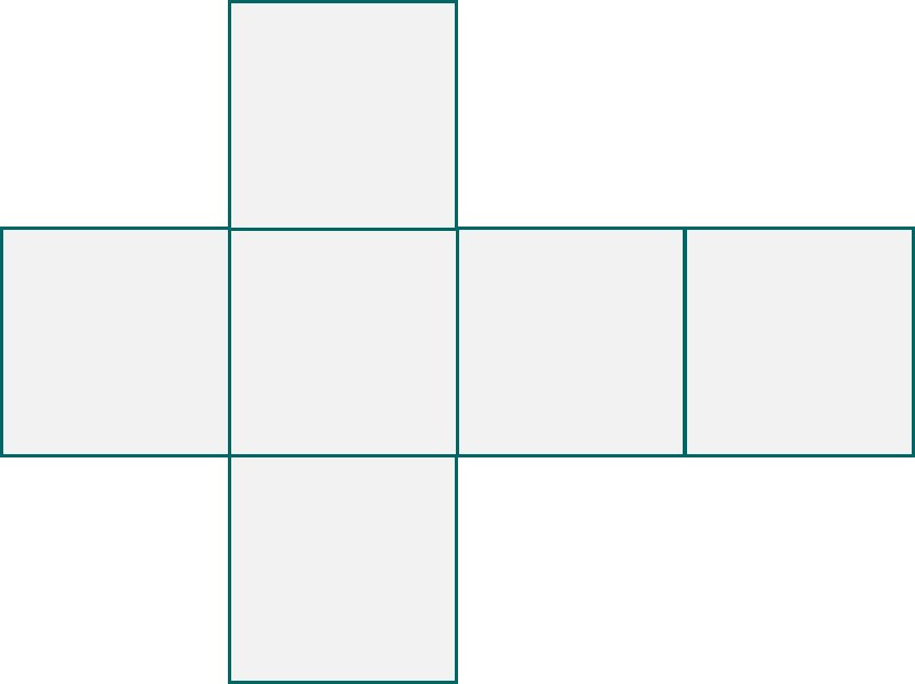 Cube net layout made up of six squares.