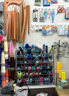 Some haberdashery for sale inside the cluster of sewing shops on Kee Ann Road.