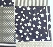 Printing defect on the dark-blue star fabric.