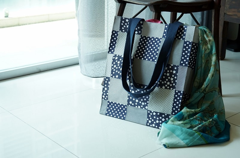 Handmade blue and grey patchwork tote bag