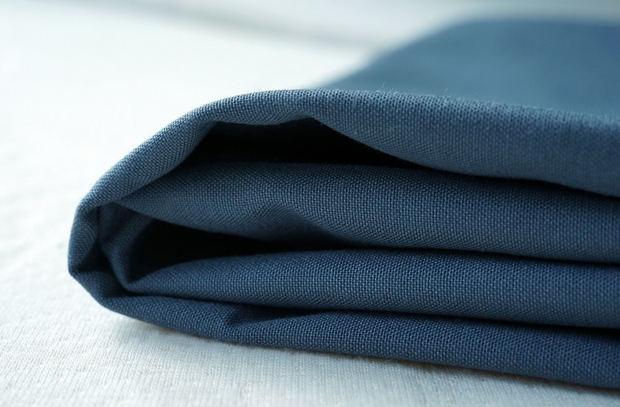 Blue viscose fabric folded