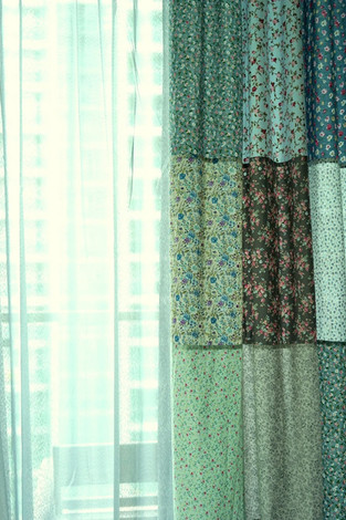 patchwork curtains with sheer close up