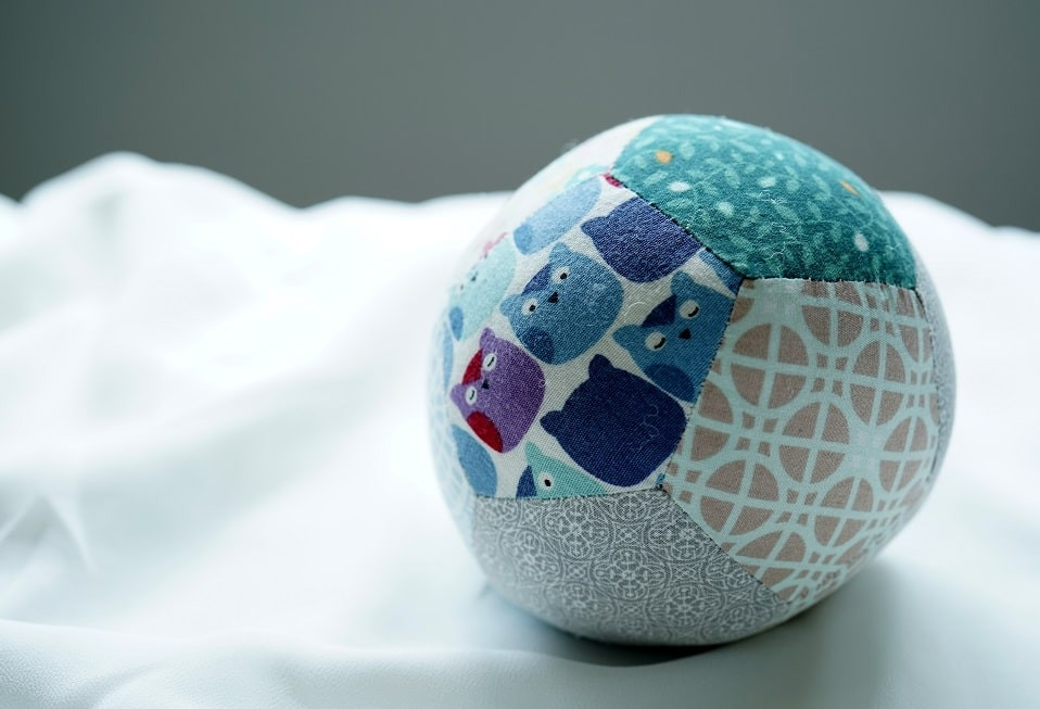 Fabric patchwork ball made of pentagons