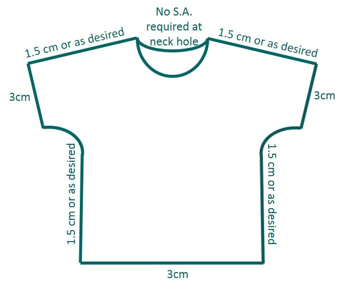 Seam allowances (S.A.) to be added to the pattern.