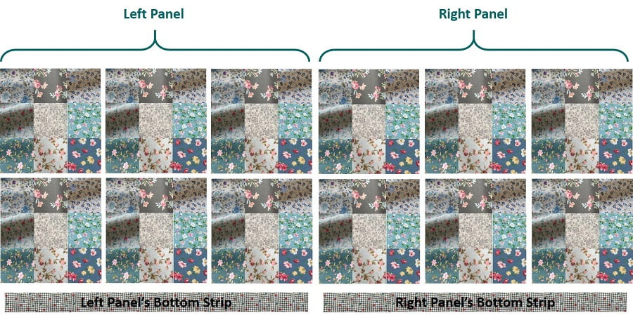 Combination of 9 Fabric Prints plus Another Print for Bottom Strip. I used screenshots of the fabric images online to see if they work well together, before placing orders.