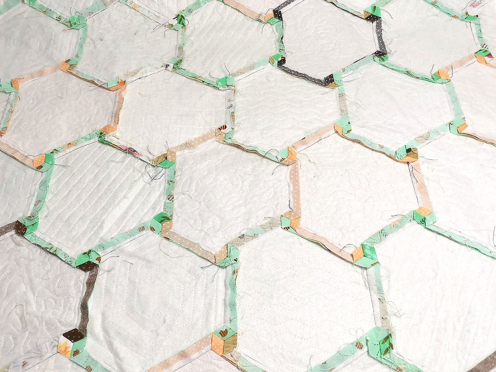 quilting with top and batting only wothout backing hexagon