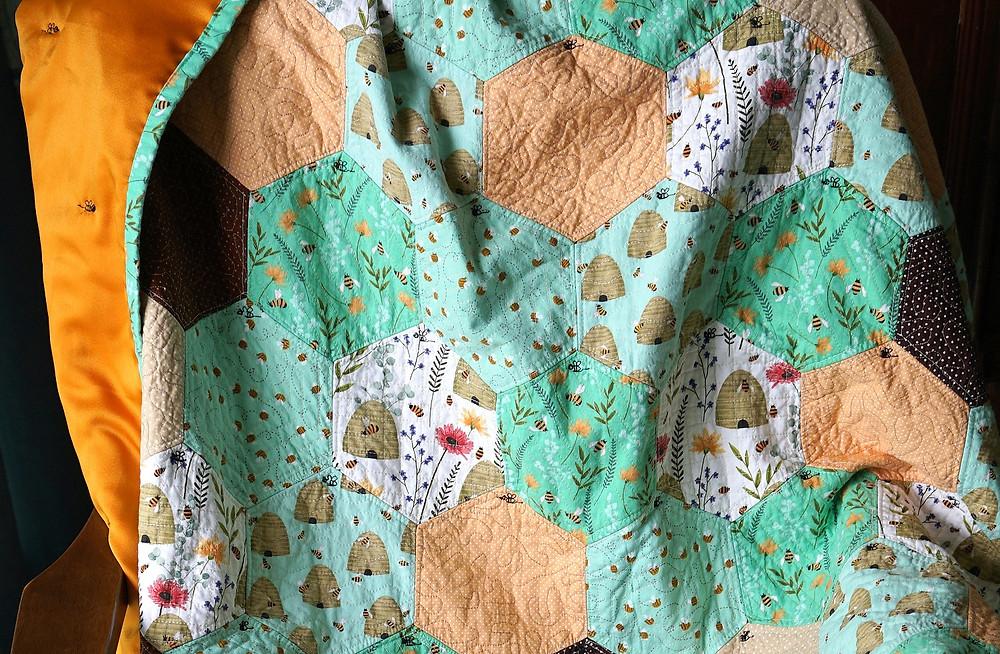 Honeycomb Hexagon Quilt QAYG Machine Sewn Drape