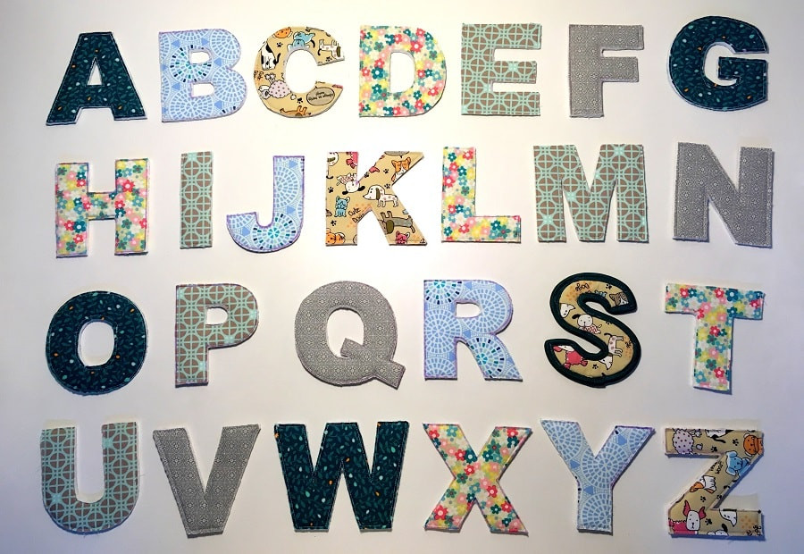 Complete set of fabric alphabets A to Z.