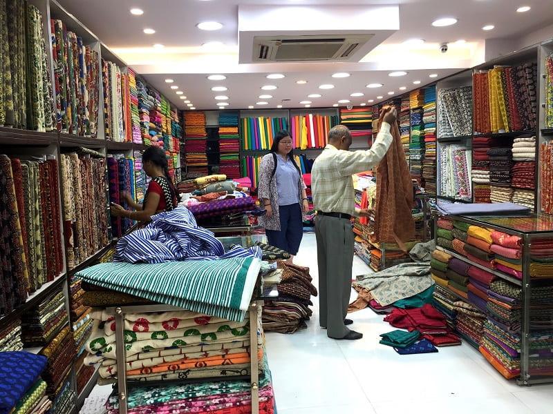 The cotton floor of the fabric store Aparnaa Fabric, Kolkata.