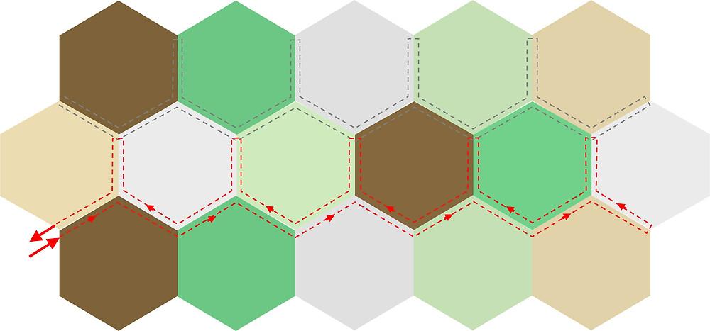 hexagon quilting path