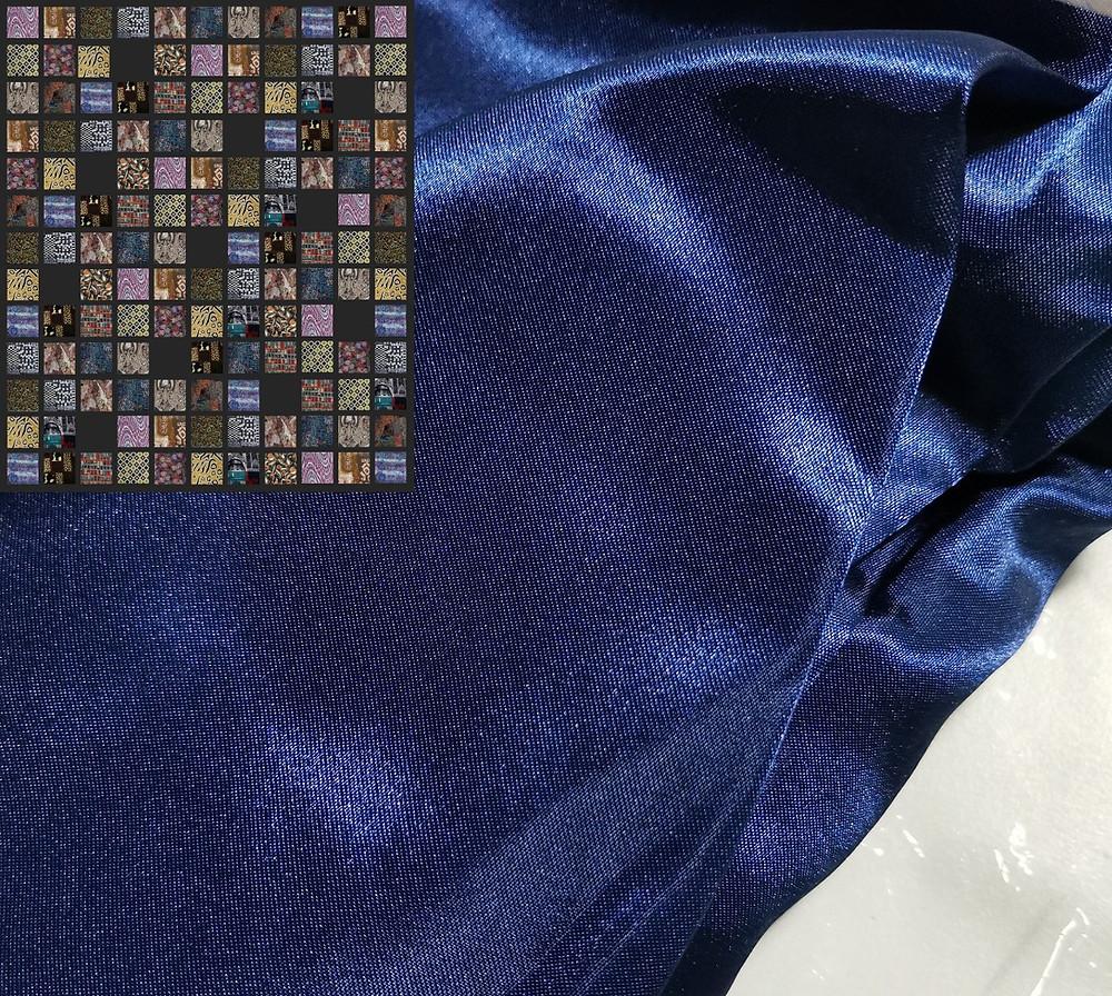 dark blue satin fabric quilt backing
