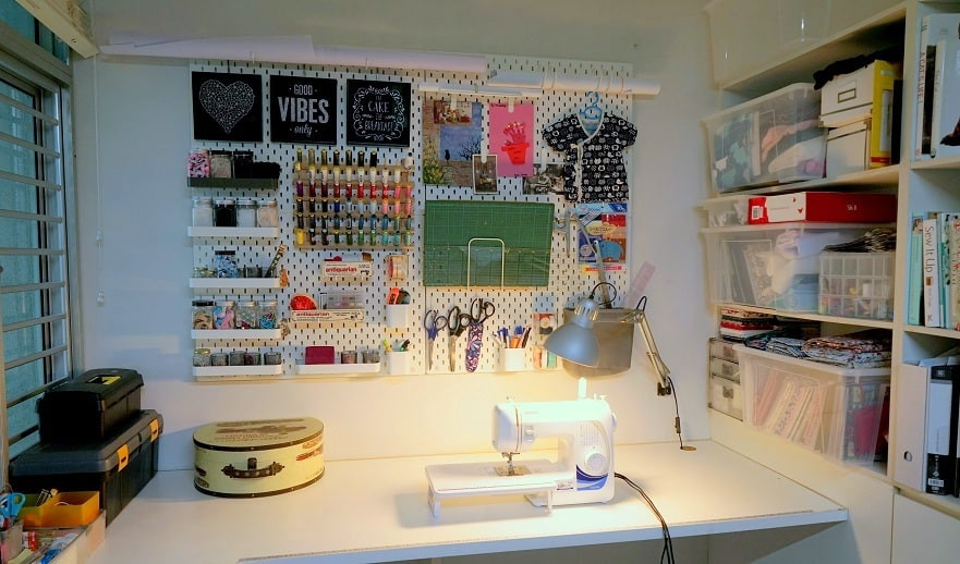 IKEA SKÅDIS pegboard system for sewing area