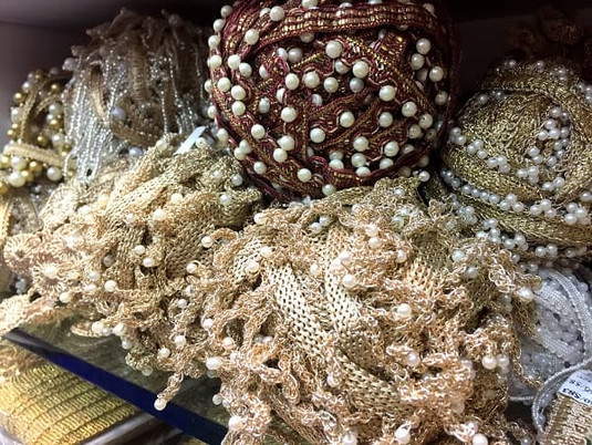 Ethnic gold lace with pearls in Kolkata, India