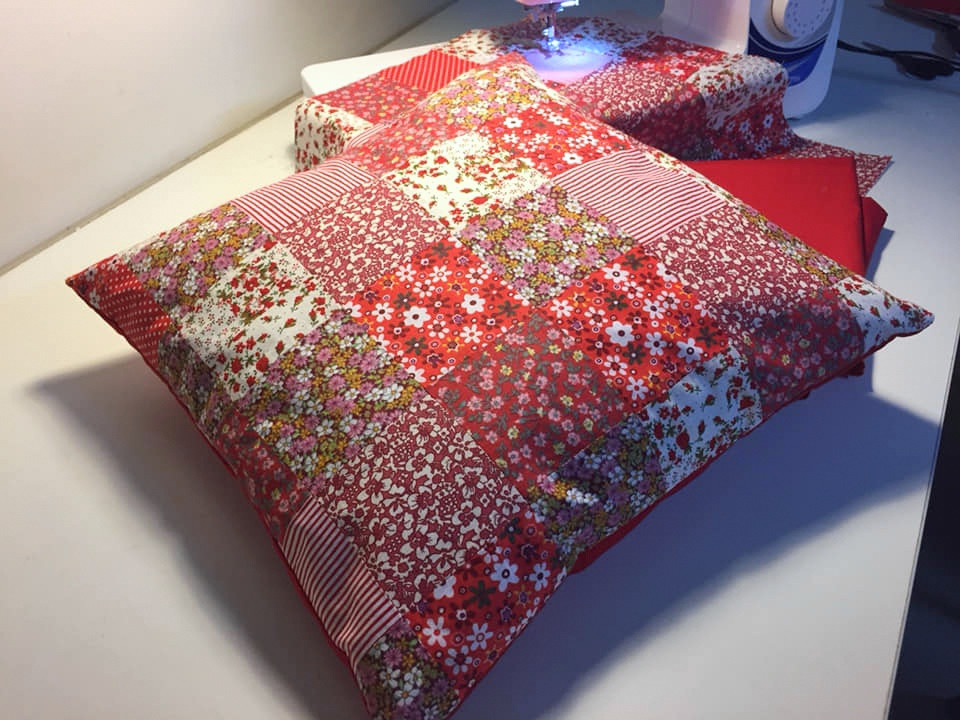 red floral patchwork cushion cover