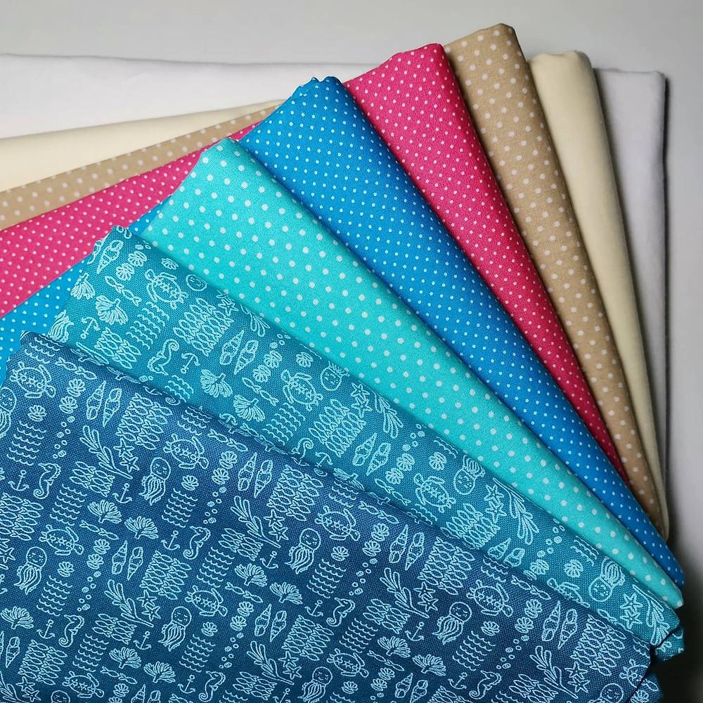 Fabrics in Sea Colours