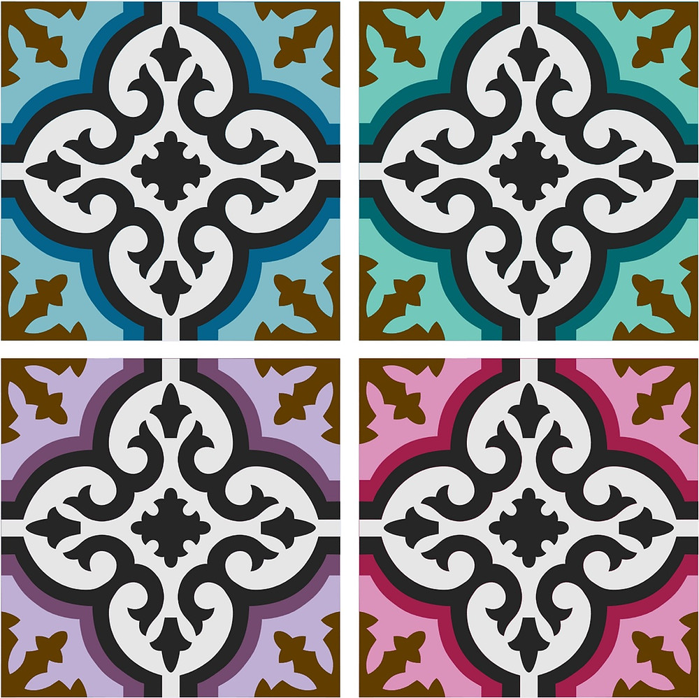 Peranakan tiles pattern in blue, green, purple, and pink.