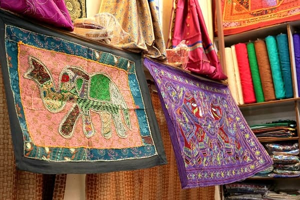 Colourful embroidery textile in Varanasi, India.