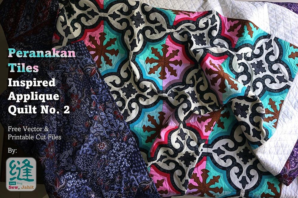 Sew, Jahit Peranakan Tile Applique Quilt Cover Photo