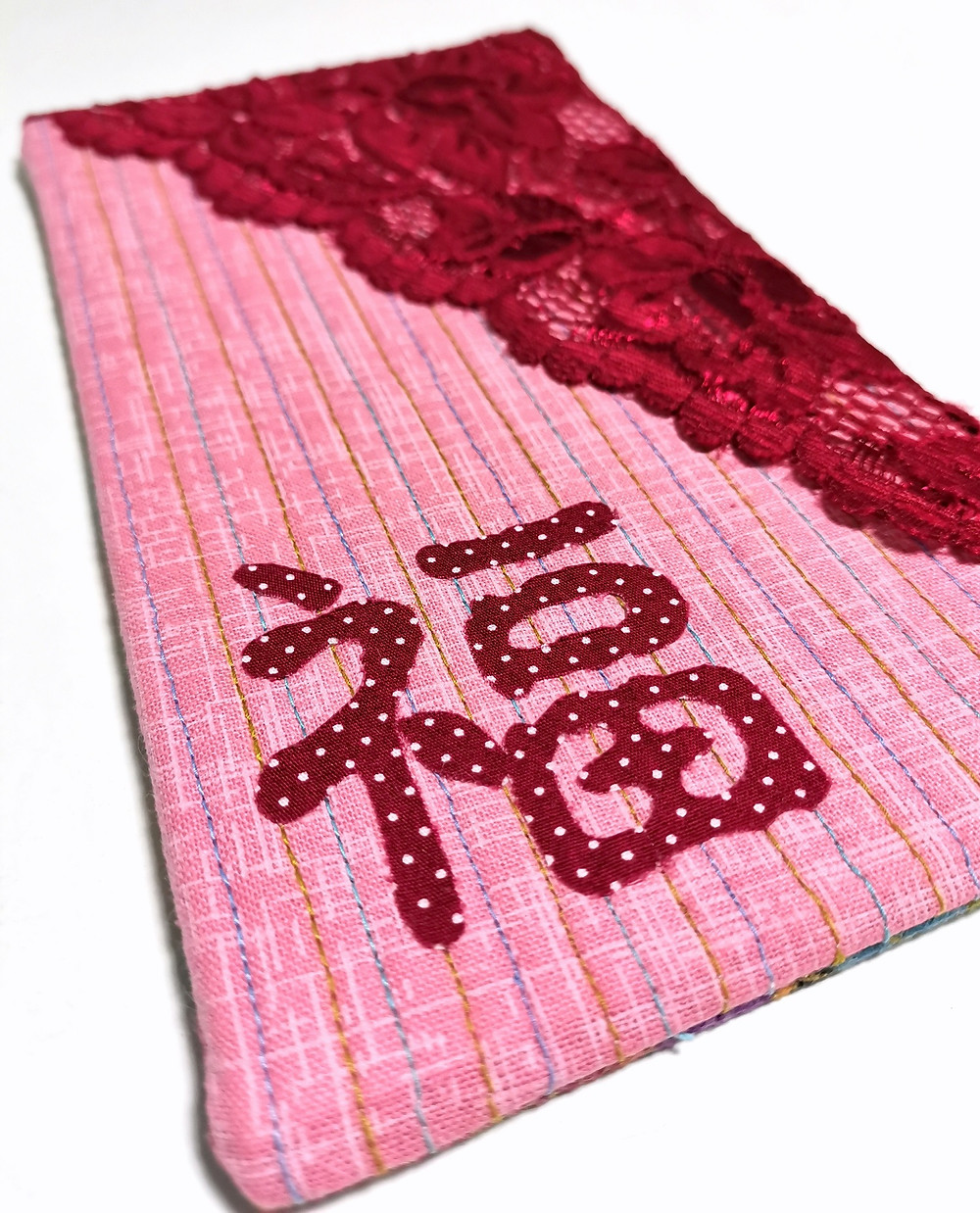 pink quilted applique ang pao red packet with lace