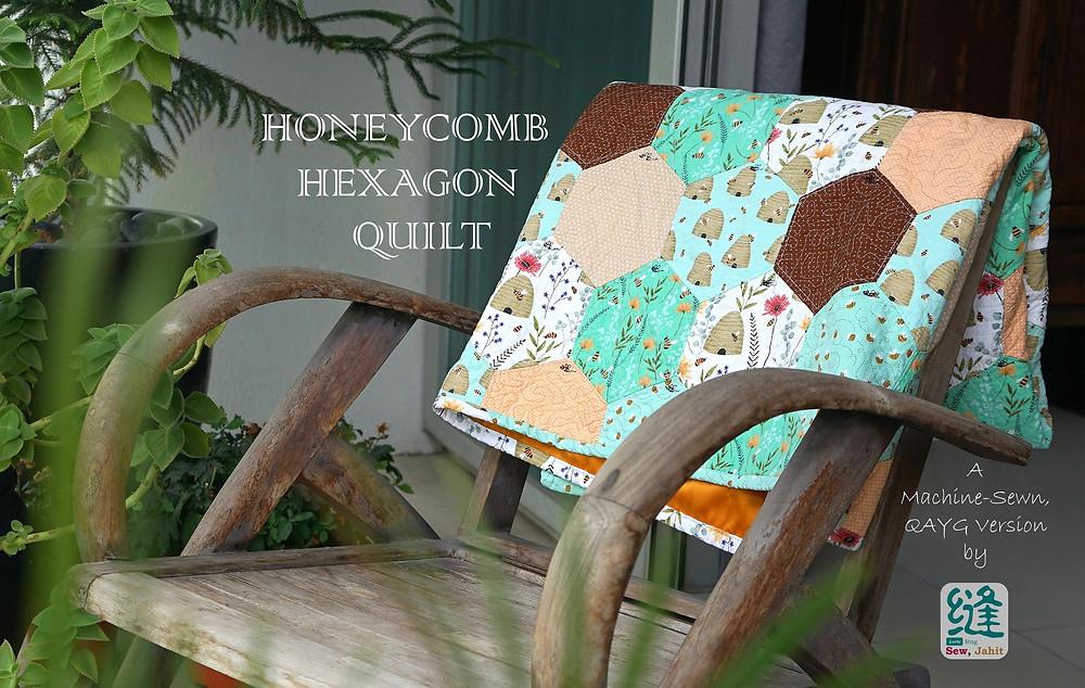 Honeycomb Hexagon Quilt QAYG Machine Sewn Chair