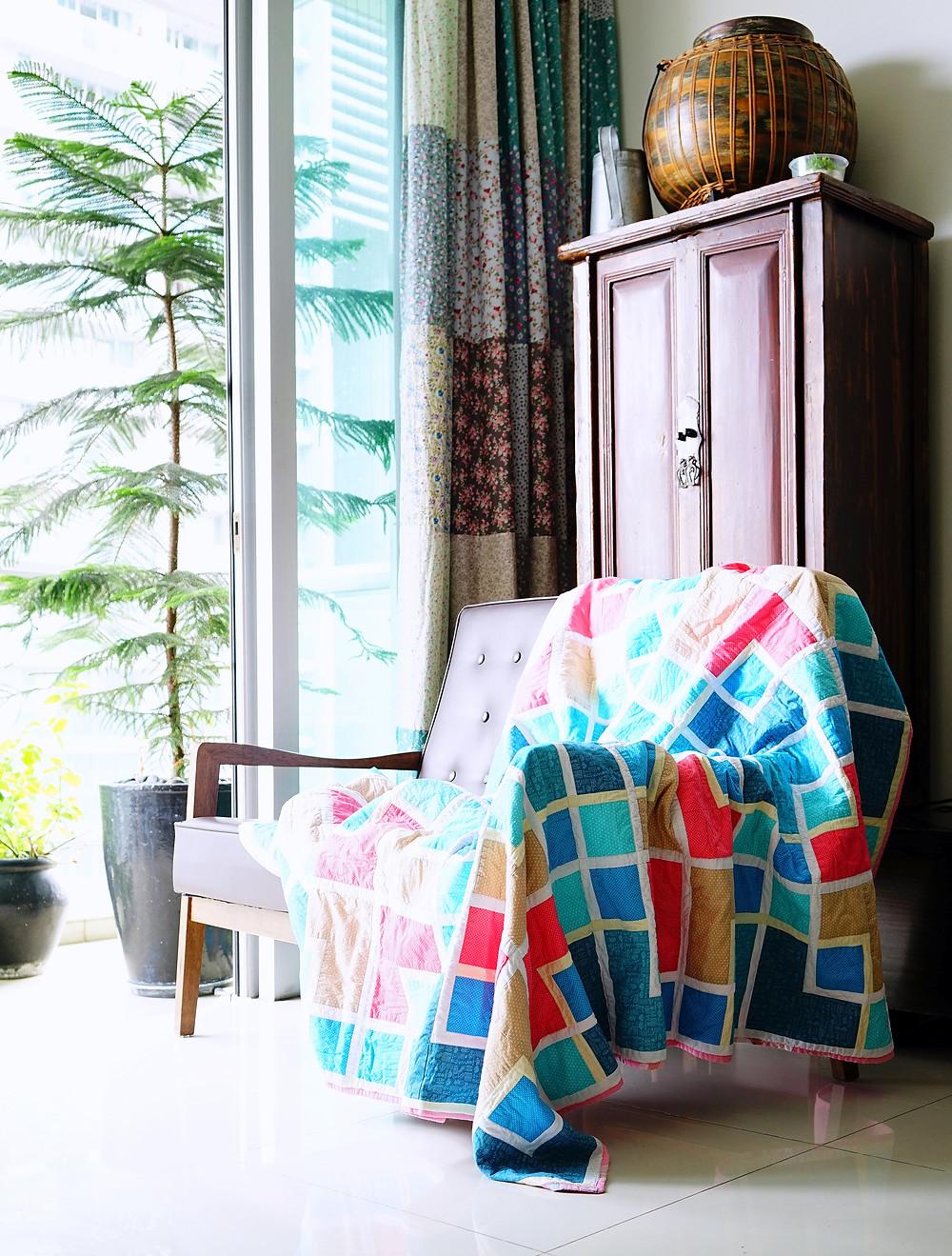 colourful oriental lattice quilt drape furniture