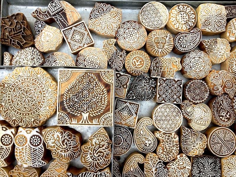 Indian wooden printing blocks in Jaipur, India