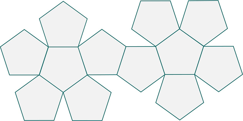 Dodecahedron net layout is made up of 12 pentagons.