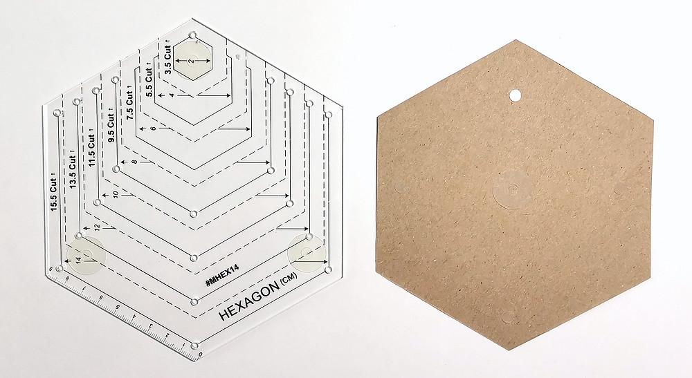 Hexagon Acrylic Ruler and Cardstock Template