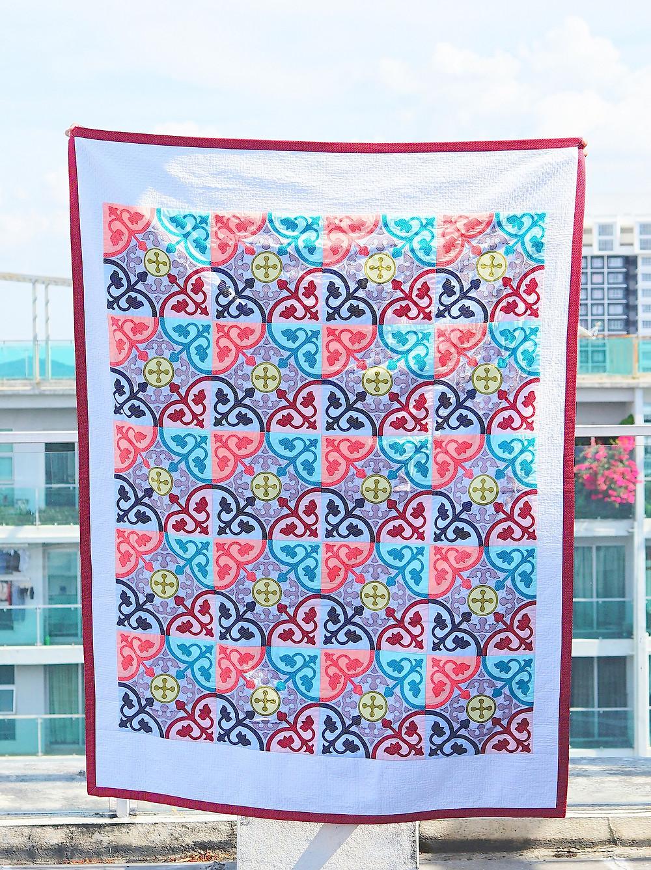 Completed Peranakan Tiles Applique Quilt