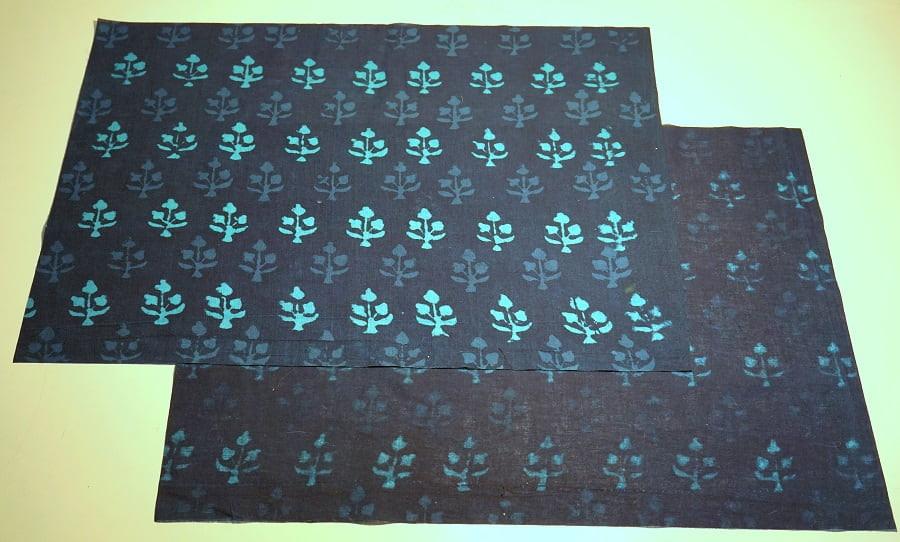 Indigo block print fabrics from India cut into two rectangles