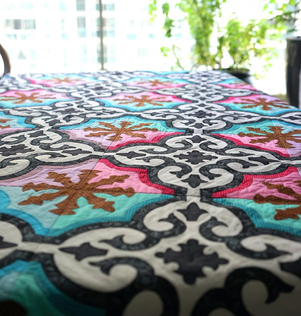 Sew, Jahit Peranakan Tile Applique Quilt