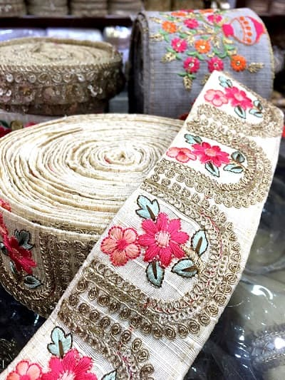 Floral embroidery lace in Kolkata, India