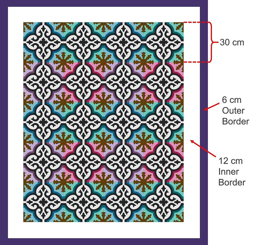 Peranakan Tile applique quilt measurement