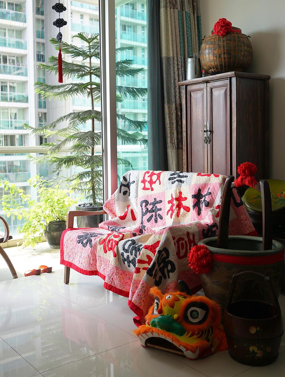 Vintage Retro Chinese New Year Quilt Interior Decoration