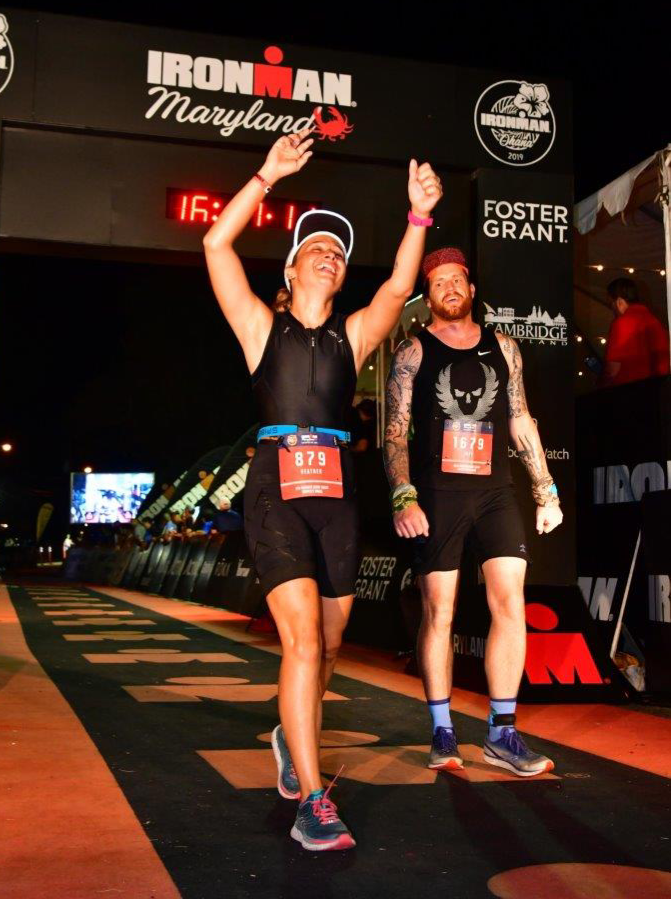 Jeff and I finishing Ironman Maryland 140.6 with a chip time of 15:56:33